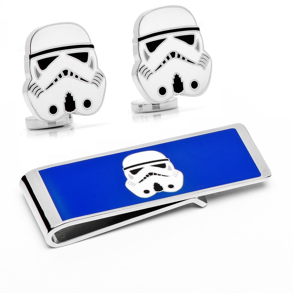 Stormtrooper Head Cufflinks and Money Clip Gift Set