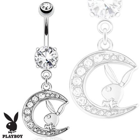 Belly Button Ring Playboy Bunny with Paved Gemmed Moon Dangle 316L Surgical Steel Navel Ring