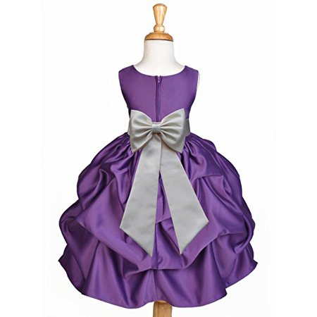 Ekidsbridal Purple Satin Pick-Up Flower Girl Dress Toddler Girl Dresses Junior Bridesmaid Dress Pageant Gown Birthday Girl Dress Communion Dress Baptism Dress Christening Dress Daily Dresses 208T