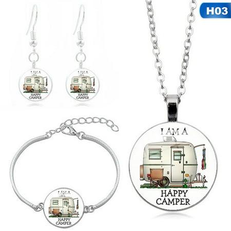 KABOER 4Pcs\/Set Happy Campers Time Gem Necklace Bracelet Earrings Suit Series Women Fashion Jewelry Accessories
