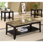 Bowery Hill 3 Piece Faux Marble Top Occasional Table Set in Black