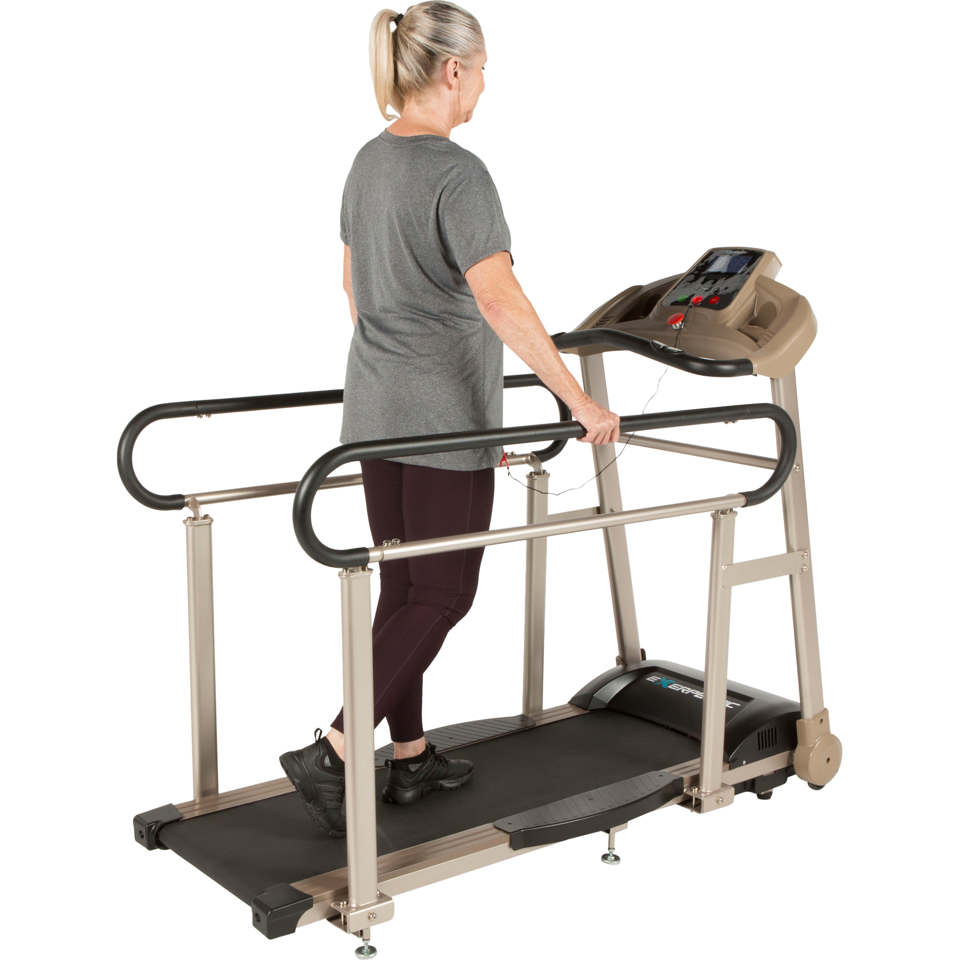 EXERPEUTIC TF2000 Recovery Senior Fitness Treadmill with Full Length Hand Rails & Heart Rate Monitor