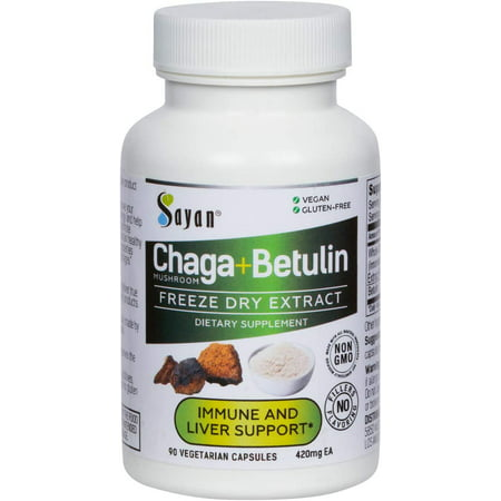 Sayan Siberian Wild Forest Chaga Mushroom Extract Powder with Betulin Birch Bark Extract 90 Vegetarian Capsules 420mg each Antioxidant, Immune System Booster, Inflammation Reduction Help, Fight Yeast