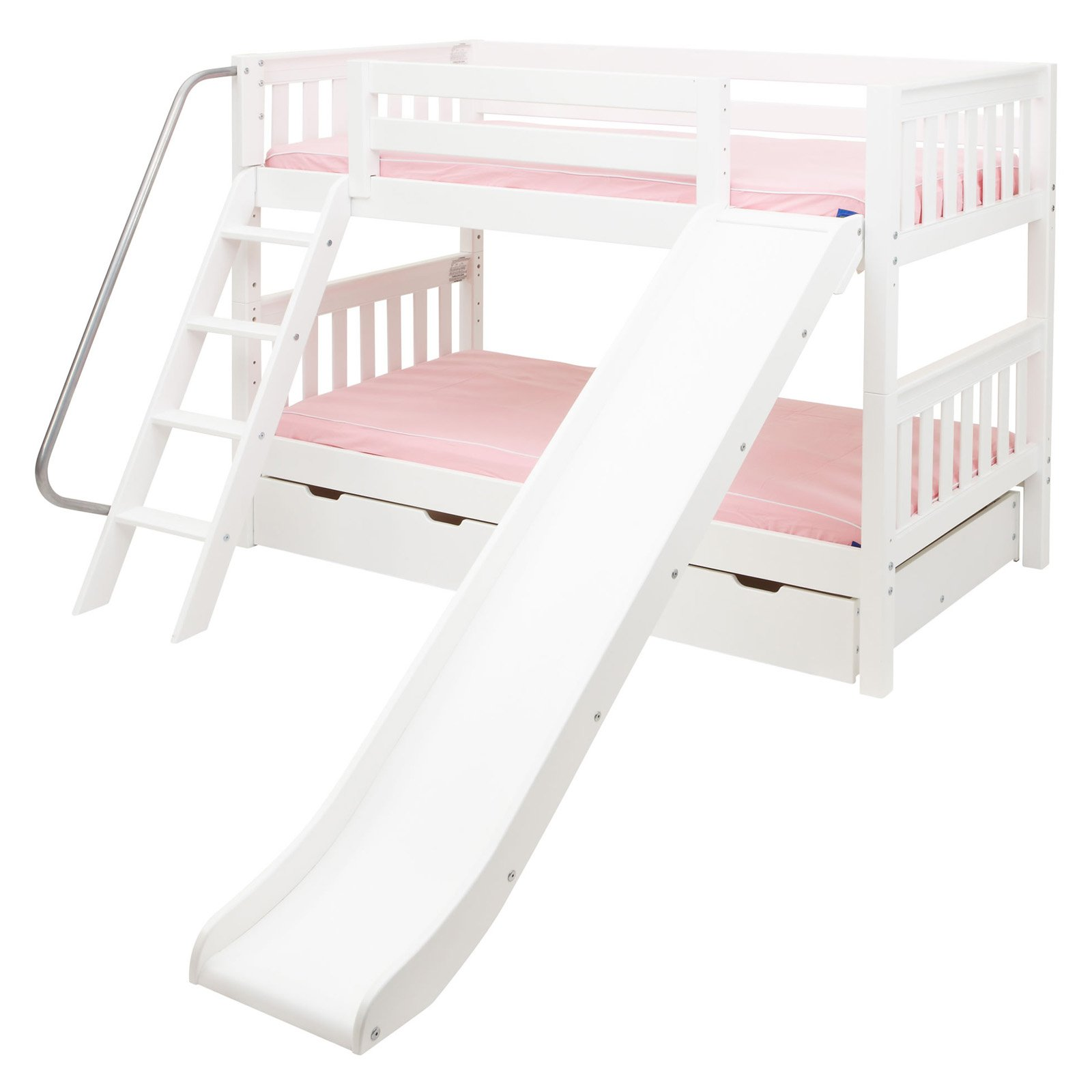 Laugh Twin Over Twin Slat Slide Bunk Bed Walmart Com