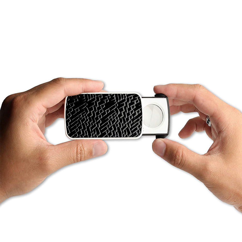 Rocks Gems 30X 60X and 90X Multi-Power Small Portable Loupe Magnifier LED Lighted Slide Out Pocket Magnifying Glass With UV Black Light Best For Jewelry Coins Diamonds Stamps