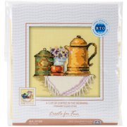 "A Cup Of Coffee In The Morning Counted Cross Stitch Kit-4""X4"" 14 Count"