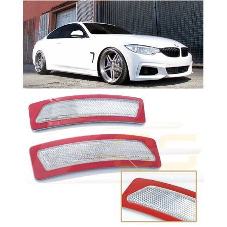 For 2016-2018 BMW F30 F31 3-Series BASE MODELS | EOS Factory Style Crystal Clear Front Bumper Fender Reflector Side Marker Lights Turn Signal Lamps