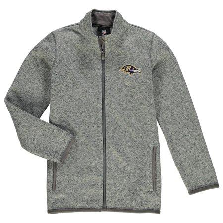 Baltimore Ravens Youth Sweater Knit Full-Zip Jacket - Heathered Gray ()