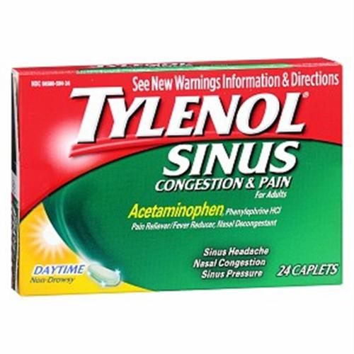 TYLENOL Sinus Congestion & Pain Caplets Daytime 24 Caplets (Pack of 6)