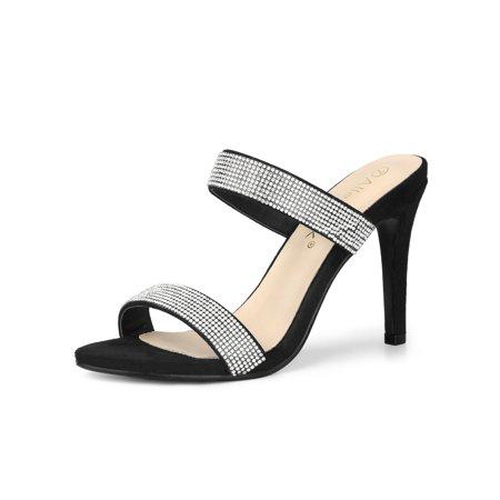 Women's Stiletto High Heel Rhinestone Mules Sandals Black (Size (Black Stiletto High Heel Sandals)