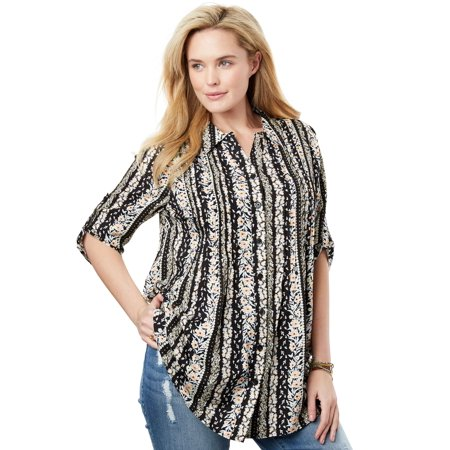 73fbb3fe830 Woman Within - Woman Within Plus Size Pintucked Print Tunic Shirt ...