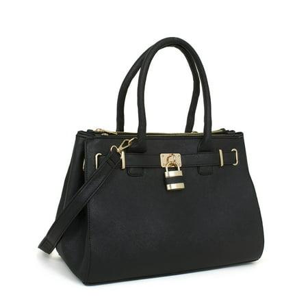 Beaute Bags Handbag Padlock Shoulder Tote Vegan Leather Satchel Top-Handle Purse Multi Pocket Top Handle Satchel