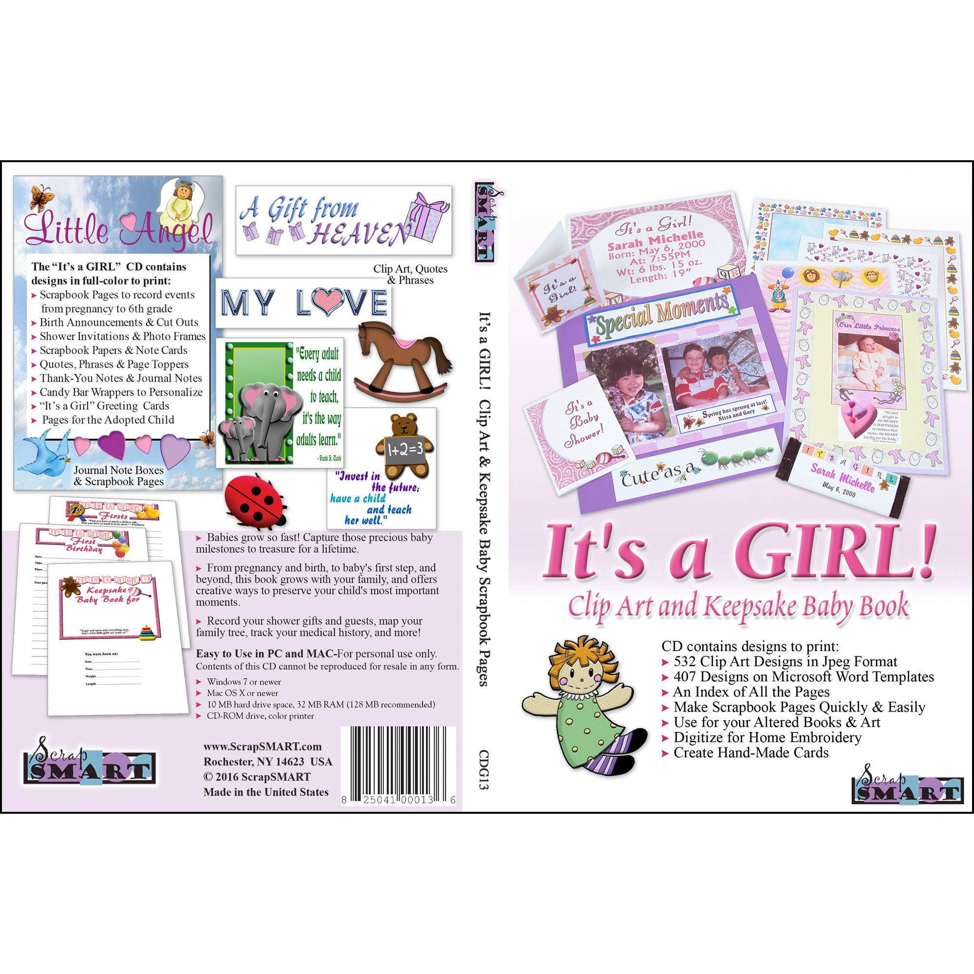 ScrapSMART Its a GIRL! Clip-Art CD-ROM: 532 Designs for Quilt, Sew, Cards and Scrapbooks