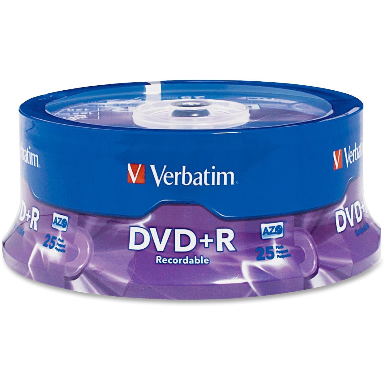 Verbatim, VER95033, 4.7GB AZO DVD+R, 25
