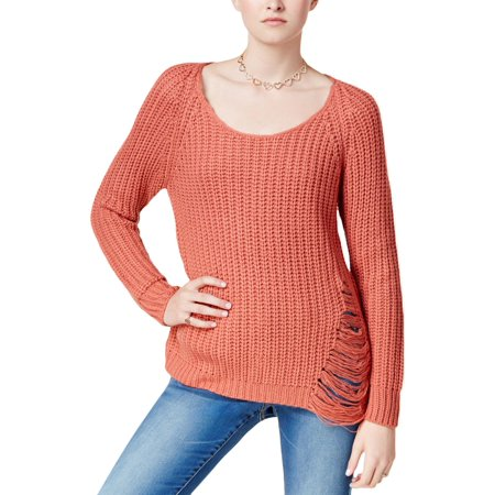 Planet Gold Womens Juniors Ripped Scoop Neck Pullover Sweater Pink M