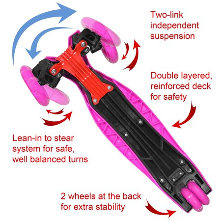 KOBE Junior Pro Mini Scooter - with 4 Swivel LED Light Up Wheels - Kids 2 to 6-yo - Pink - image 7 de 9