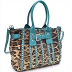 Ritz Enterprises MS106-TQ-LP Womens Belted Leopard Print Fashion Tote Bag Striped With Rhinestones, Turquoise