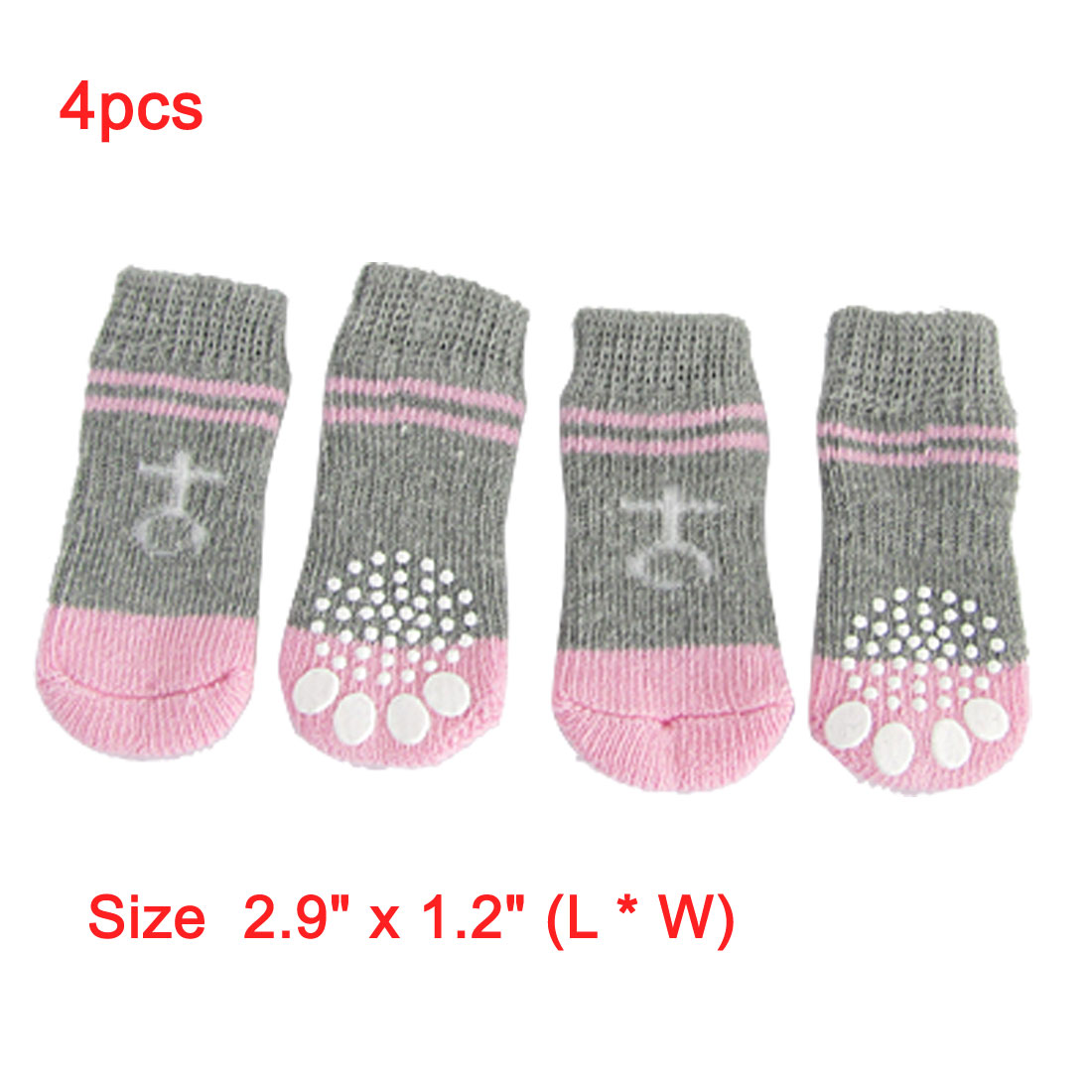 Unique Bargains 4 PCS Dog Puppy Nonslip Socks Pet Supplies Pink Gray