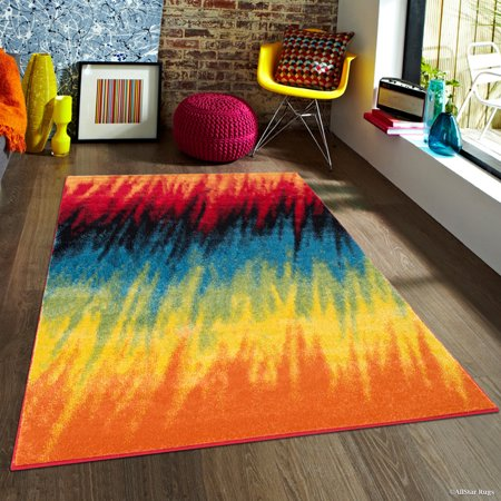 AllStar Woven High Quality Frieze Colorfun. Burst of Colors. Contemporary. Modern Transitional Design Area Rug (5' x 6' 11