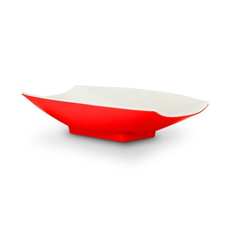 - 21 x 12 1/8 x 4 1/4 Melamine Curves Bowl Red Outside / White Inside, Case Of 3