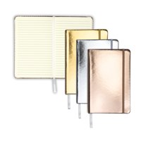 """Samsill Hardcover Writing Notebook - Metallic Silver, Gold, and Rose Gold, 3 Pack, Classic 5.25"""" x 8.25"""""""