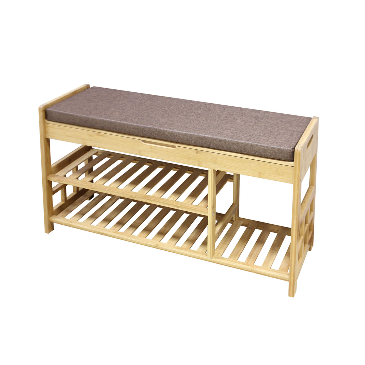 """Clevr 35"""" 2-Tier Shoe Rack Bamboo Organizer Storage Bench with Drawer on Top"""