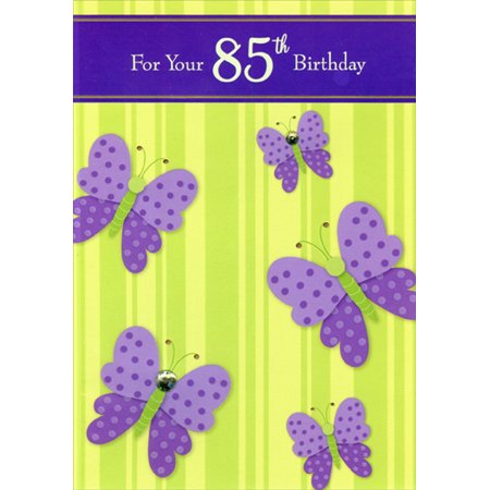 Designer Greetings Purple Butterflies with Gems Hand Decorated Age 85 / 85th Birthday Card for Her - 85th Birthday Ideas