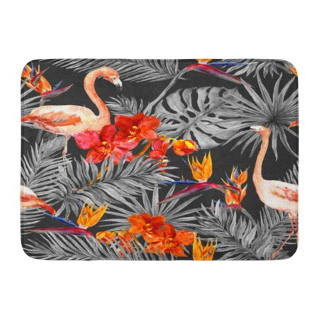 KDAGR Gray Palm Flamingo Tropical Leaves and Exotic Flowers at Monochrome Watercolor Pink Pattern Doormat Floor Rug Bath Mat 23.6x15.7 inch