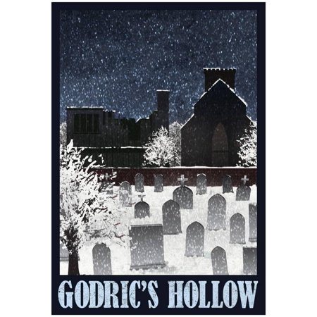 Godric's Hollow Retro Travel Print Wall