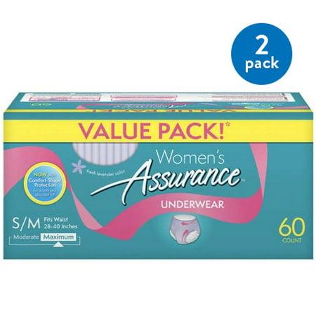 - (2 Pack) Assurance Incontinence Underwear for Women, Maximum, S/M, 60 Ct