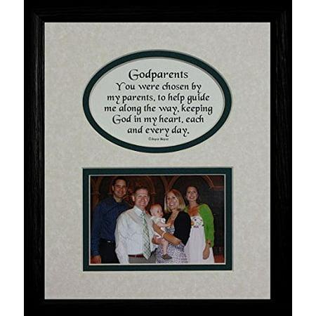 8X10 Godparents Picture & Poetry Photo Gift Frame ~ Cream/Hunter Green Mat With Black Frame ~ Heartfelt Keepsake Picture Frame For The Godparents Baptism Or Christening Gift Idea