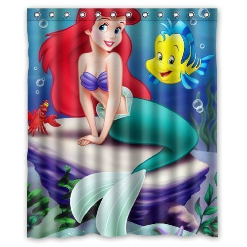 DEYOU The Little Mermaid On A Stone With Two Fish Shower Curtain Polyester Fabric Bathroom Shower Curtain Size 66x72 inches