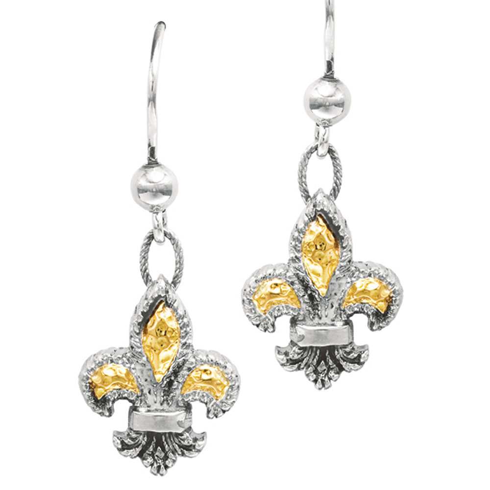 Phillip Gavriel 18k Gold & Sterling Silver Fleur De Lis Dangle Earrings