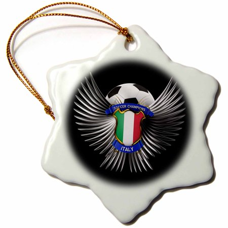 3dRose Italy soccer ball with crest team football Italian, Snowflake Ornament, Porcelain, 3-inch