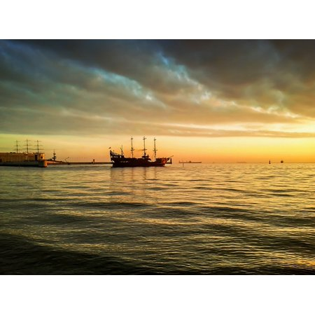 Canvas Print Ship Pirate The Waves Tour Pirates Water Sea Stretched Canvas 10 x (Tour Water)