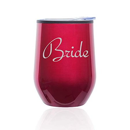 Stemless Wine Tumbler Coffee Travel Mug Glass with Lid Bride Bachelorette Wedding (Fuchsia) - Bachelorette Tumblers