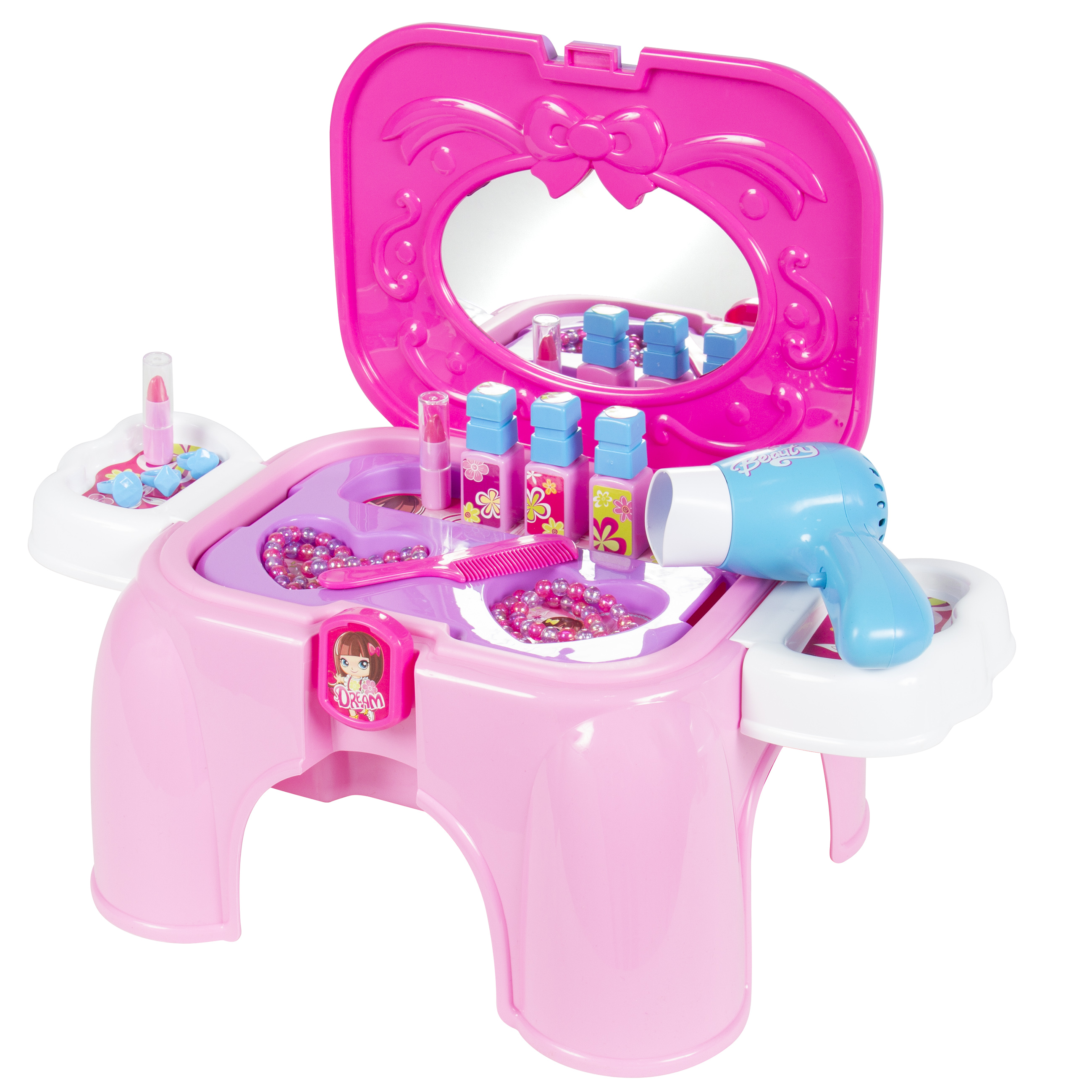 Kids Toy Vanity Cosmetic Pretend Playset with Mirror & Working Hair ...