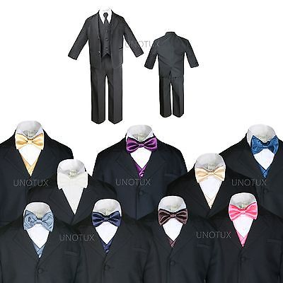 Prom Suit (BABY BOY TODDLER KID TEEN WEDDING PROM BLACK TUXEDO SUIT + VEST BOW TIE SZ:)