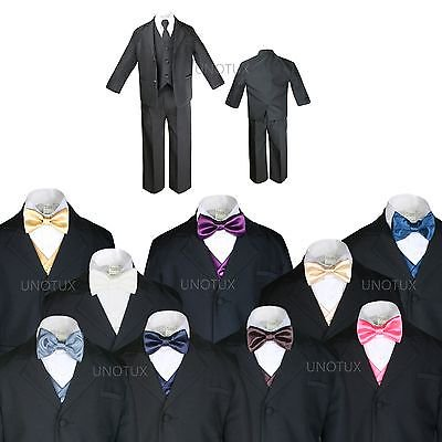 BABY BOY TODDLER KID TEEN WEDDING PROM BLACK TUXEDO SUIT + VEST BOW TIE SZ: S-20 (Prom Suit)