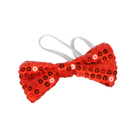 Red Sequin Bowtie Bow Tie for Clown or Christmas Costume