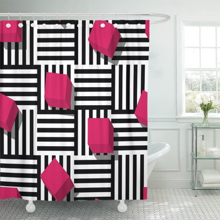 PKNMT Geometric Pattern Flat Pink Cube And Black White Striped Shower Curtain 60x72 Inches