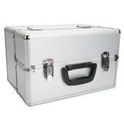 Mgaxyff Portable Aluminum Makeup Storage Box with Keys White, Jewelry Storage Box, Makeup Storage Box