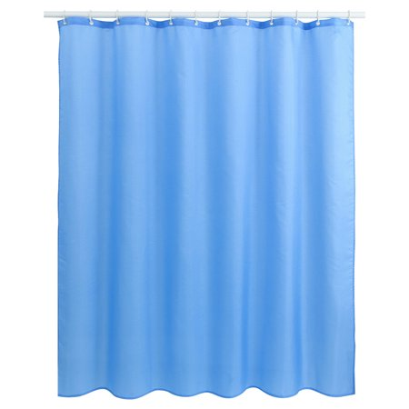 Solid Color Polyester Fabric Shower Curtain With Hooks Blue 72 X 78 Inch