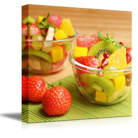 Canvas Prints Wall Art - Colorful Healthy Fruit Salad in the Glass Bowls | Modern Wall Decor/Home Decoration Stretched Gallery Canvas Wrap Giclee Print & Ready to Hang - 16
