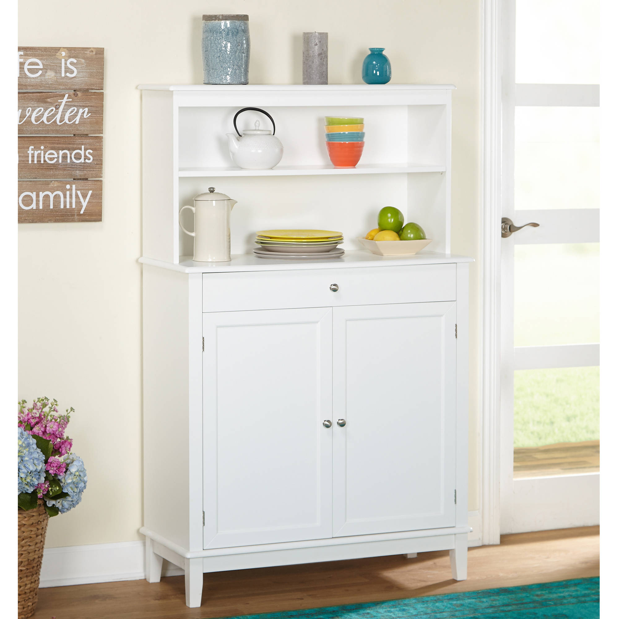 Farmhouse Buffet and Hutch, White by Overstock