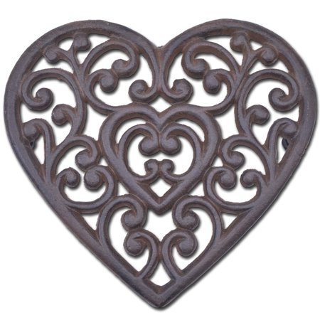 "Decorative Cast Iron Trivet - Ornate Heart - 8"" Wide"