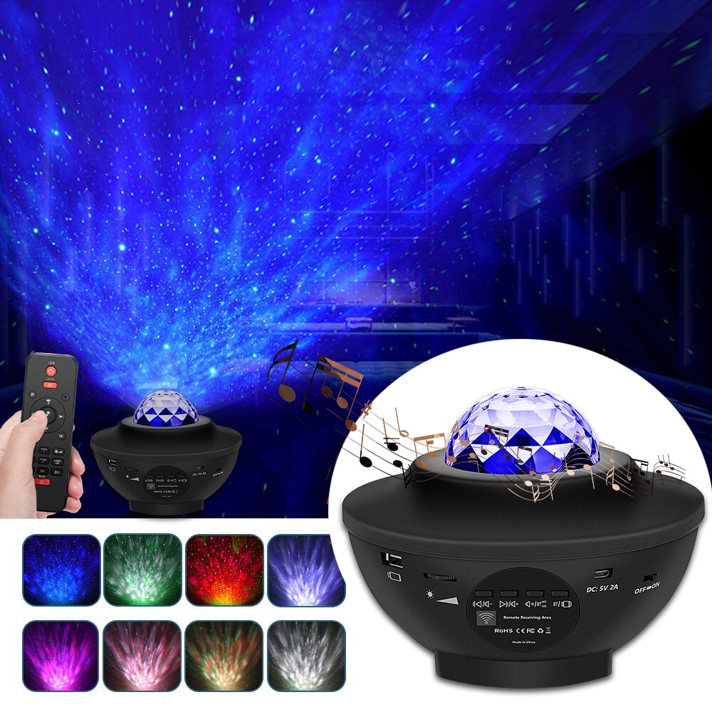 Galaxy Star Night Lamp USB LED Starry Sky Projector Light Water Pattern Remote