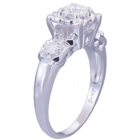 Art Deco Diamond Engagement Ring - 14k White Gold Round Cut Diamond Engagement Ring Art Deco Antique Style 0.55ct