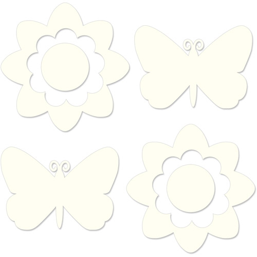 WallPops Flower Butterfly Silhouette Decals (Your Choice in Pink or Ivory)