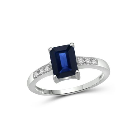 2 Carat T.G.W. Sapphire and White Diamond Accent Sterling Silver Fashion - Accented Fashion Ring